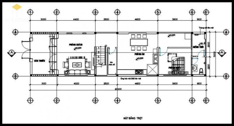 Bản vẽ tầng 1 nhà phố 5x15m