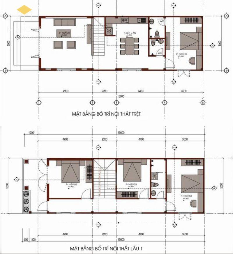 Bản vẽ tổng thể không gian 2 tầng