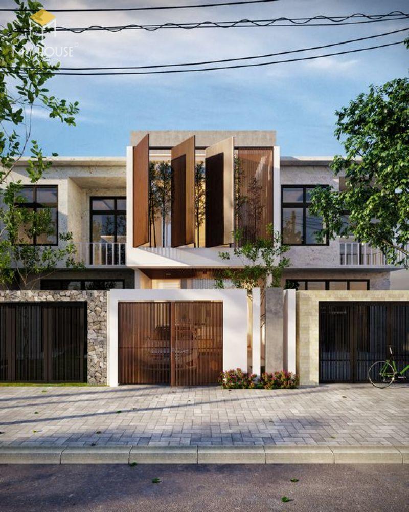 Mặt tiền thiết kế kế nhà 2 tầng diện tích 5×15 phong cách hiện đại đơn giản