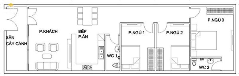 Tổng thể mặt bằng: Phòng khách, bếp + phòng ăn, 3 phòng ngủ, 2 WC