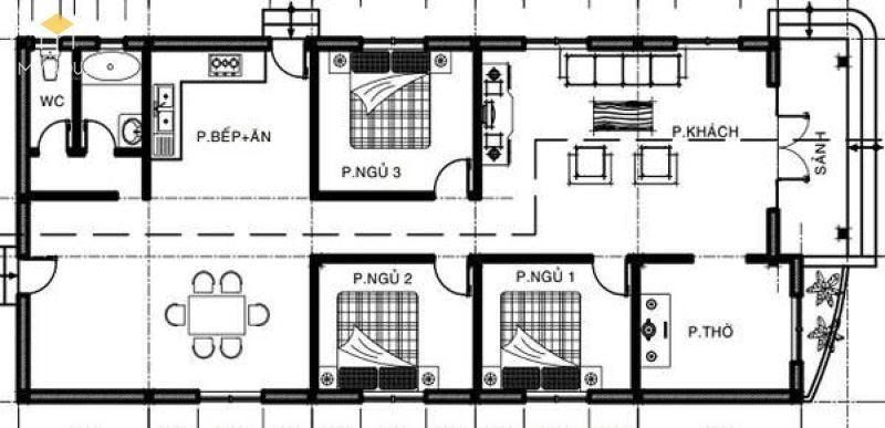 Tổng thể mặt bằng: Phòng khách, bếp + phòng ăn, 3 phòng ngủ, phòng thờ