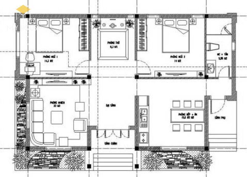 Bản vẽ mẫu nhà cấp 4: Sảnh, phòng thờ, phòng khách, bếp + phòng ăn, 2 phòng ngủ, WC