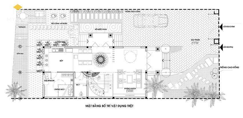 Mặt bằng tầng trệt biệt thự 2 tầng mái thái