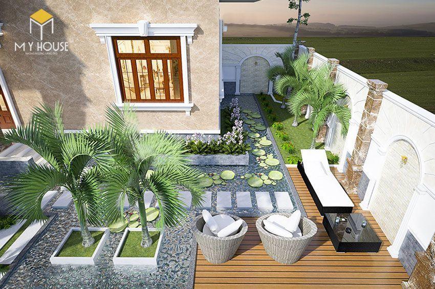 Phối cảnh sân vườn biệt thự 2 tầng mái thái - View 4