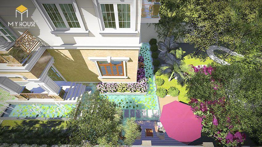 Phối cảnh sân vườn biệt thự 2 tầng mái thái - View 1