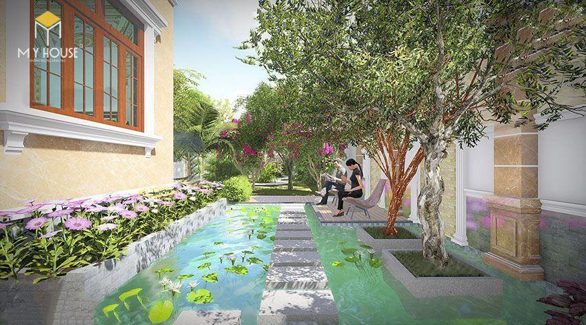 Phối cảnh sân vườn biệt thự 2 tầng mái thái - View 3