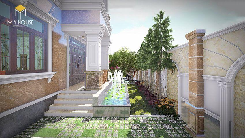 Phối cảnh sân vườn biệt thự 2 tầng mái thái - View 2