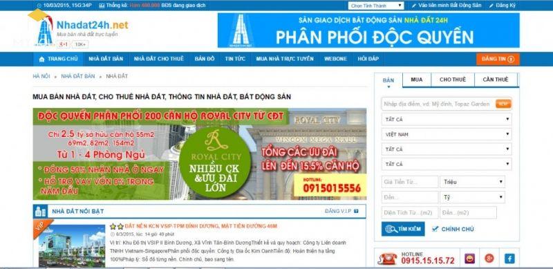 Đây là một sàn giao dịch bất động sản trực tuyến luôn cập nhật và triển khai các quảng cáo tin tức mới nhất