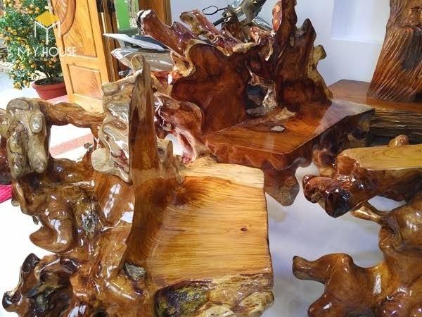 Bộ bàn ghế tinh tế bằng gỗ sao xanh