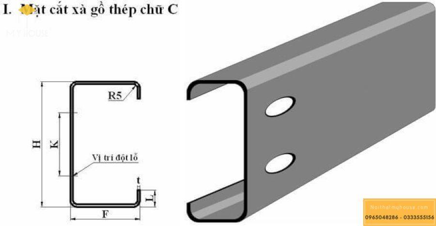 Mặt cắt xà gồ thép chữ C