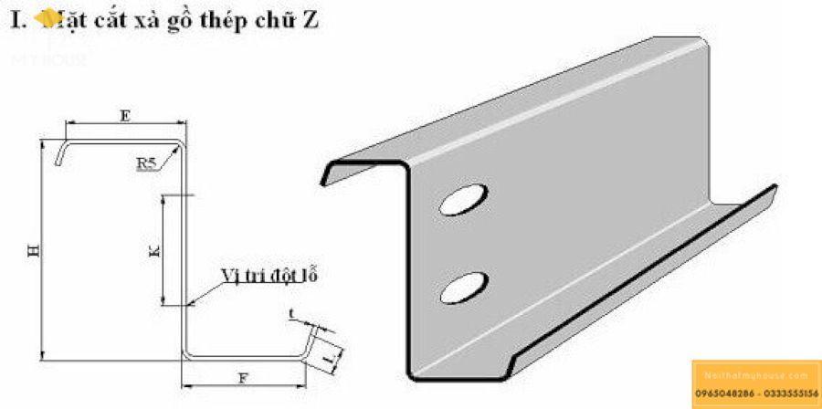 Mặt cắt xà gồ chữ C