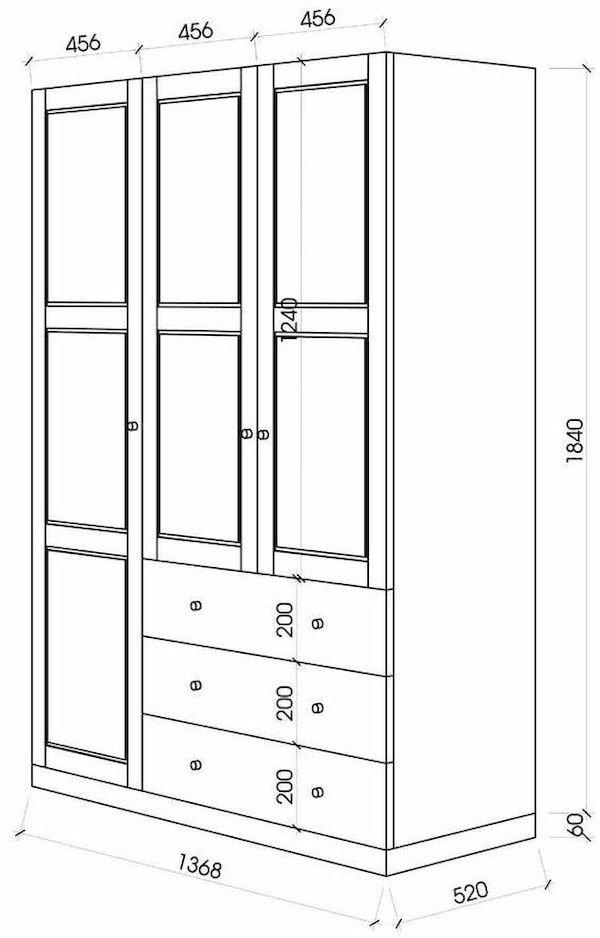 Kích thước tủ quần áo 3 buồng - Hình ảnh 2