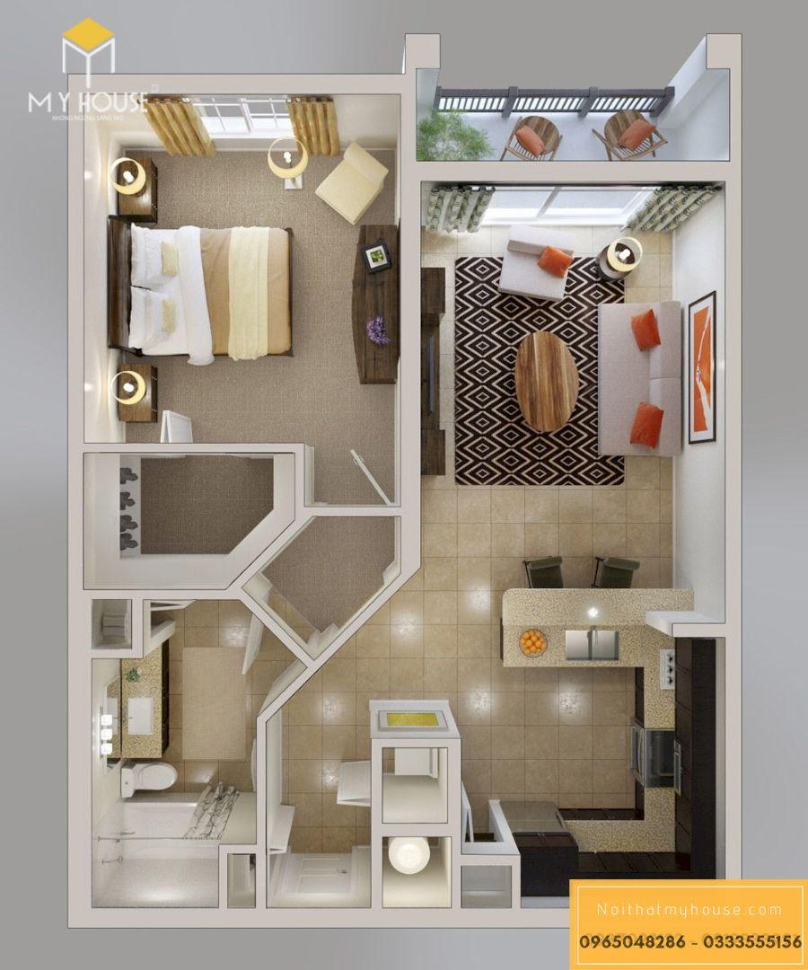 Mẫu bản vẽ thiết kế nội thất chung cư 1 phòng ngủ - Mẫu 1