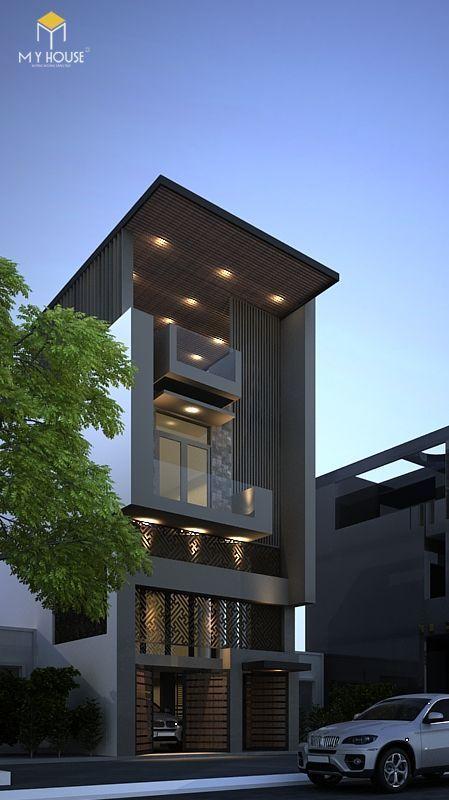 Nhà có tầng hẩm nổi hiện đại đẹp - Mẫu 11