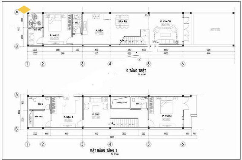 Mặt bằng bố trí nội thất mẫu thiết kế nhà ống lệch tầng 4x12m