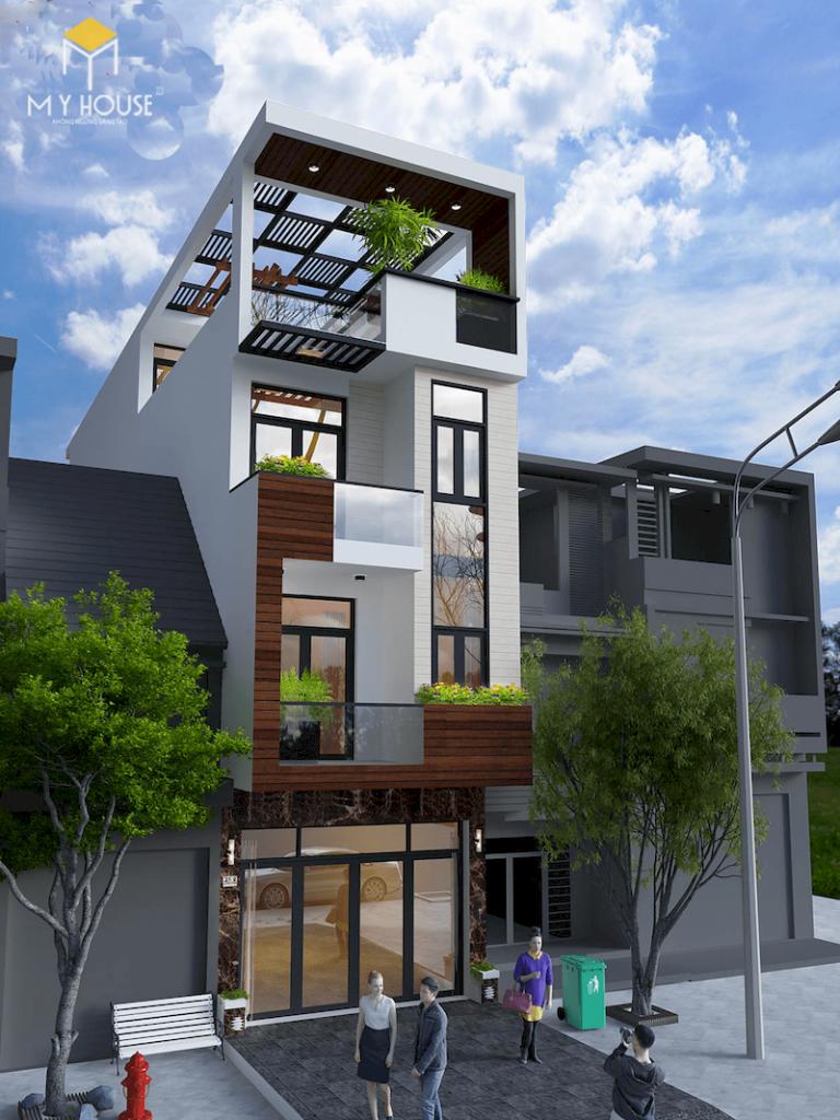 Ngoại thất nhà lệch 4x12 4 tầng - View 2