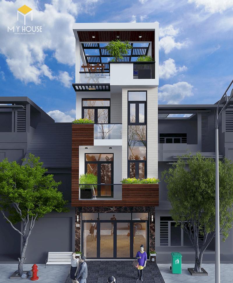 Ngoại thất nhà lệch 4x12 4 tầng - View 1