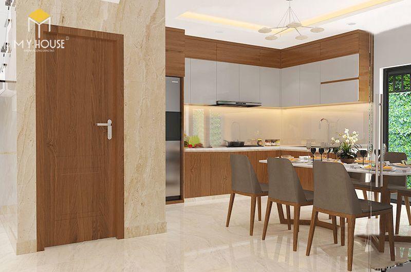 Nội thất phòng bếp nhà lệch tầng 4x12m - View 1