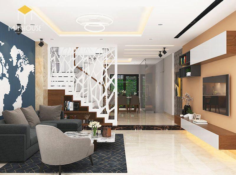 Nội thất phòng khách nhà lệch tầng 4x12m - View 1