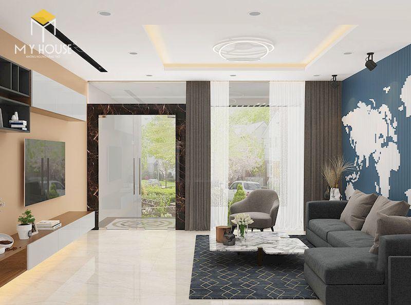 Nội thất phòng khách nhà lệch tầng 4x12m - View 2