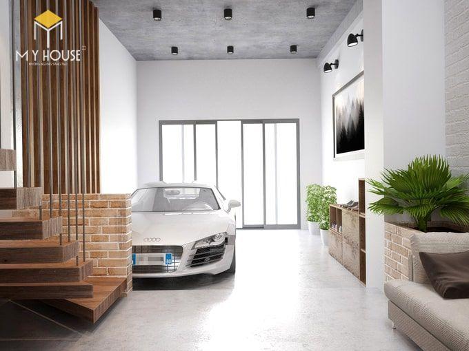 Gara để xe được thiết kế bên trong nhà rộng rãi