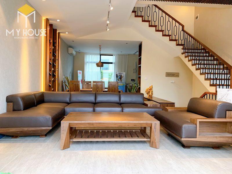 Bộ sofa gỗ óc chó cao cấp