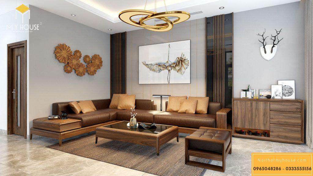 Nội thất phòng khách bằng gỗ óc chó cao cấp - View 1
