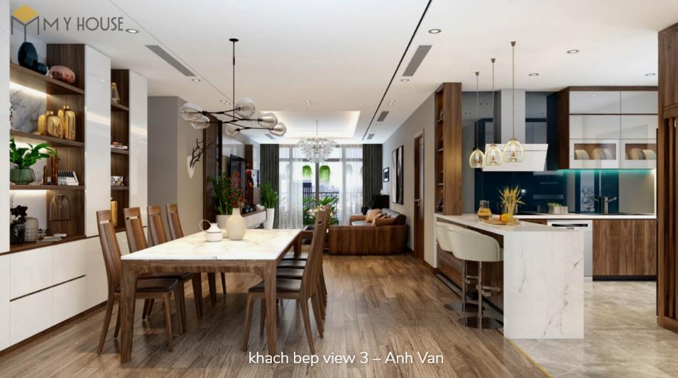 Phòng bếp bằng gỗ óc chó - View 1