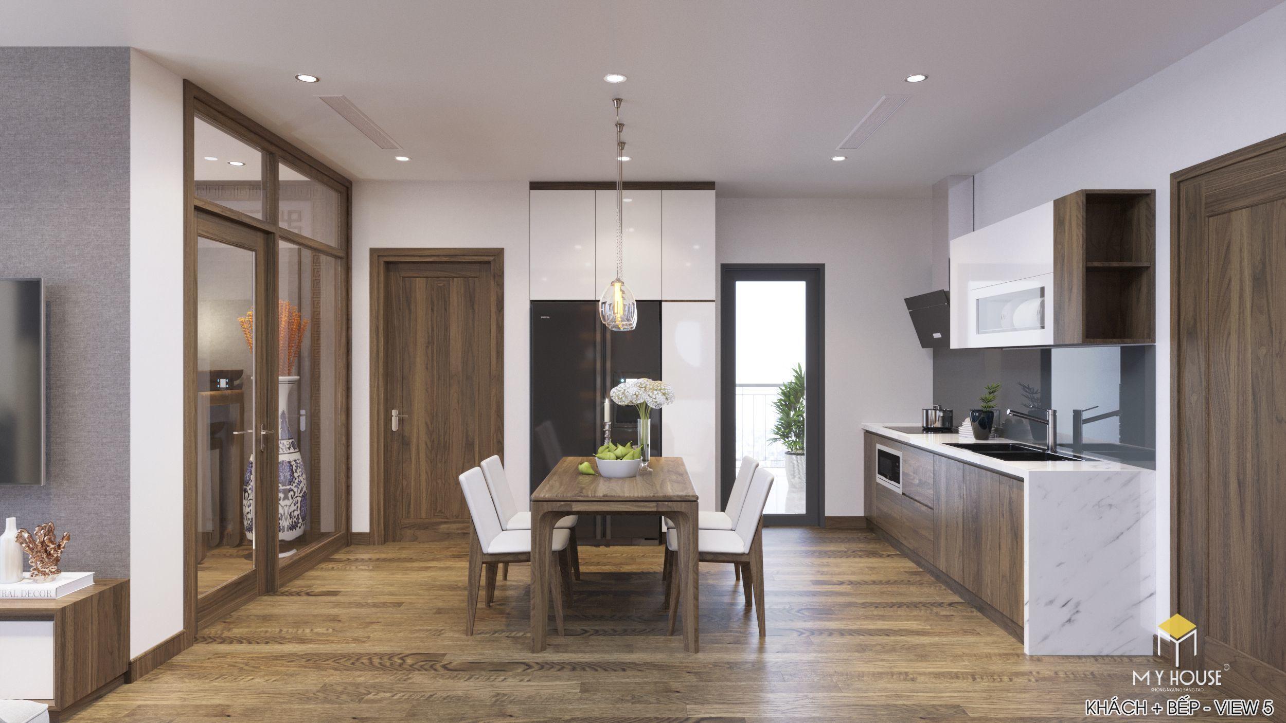 Nội thất phòng bếp+ ăn gỗ óc chó cao cấp-view 1