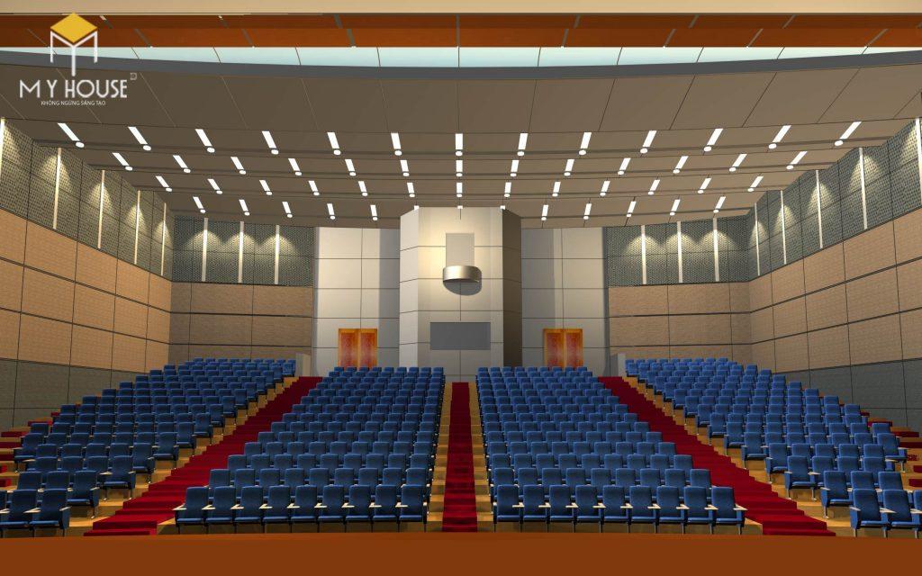 Sân khấu cao hơn so với nền, có bục lên xuống vừa tạo sự trang trọng