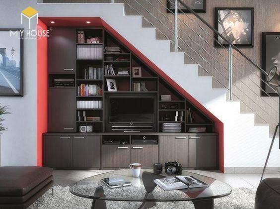 Trang trí gầm cầu thang bằng tủ tivi