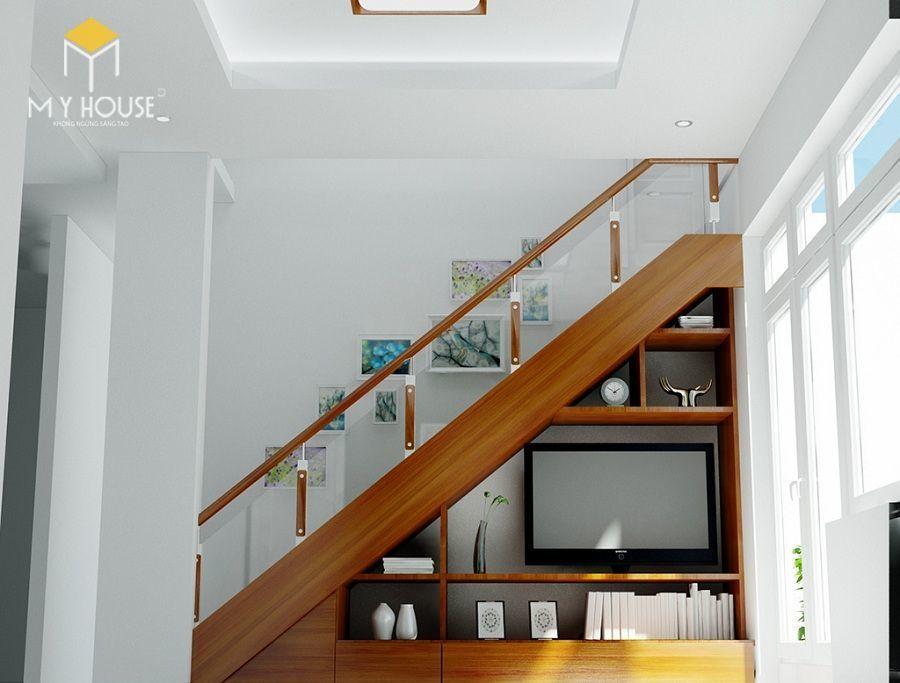 Trang trí gầm cầu thang làm giá sách