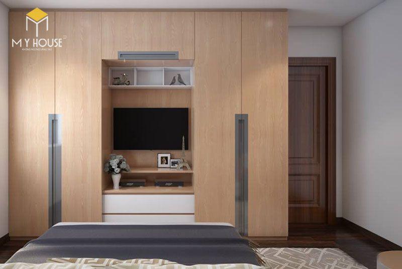 Những tủ quần áo kết hợp kệ tivi tiết kiệm chi phí