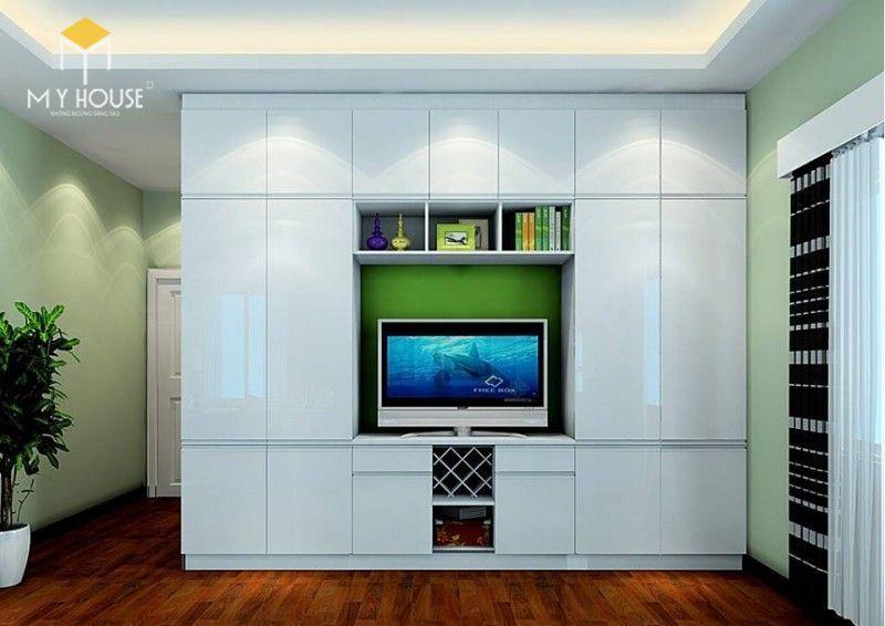 Tủ quần áo kết hợp kệ tivi hiện đại