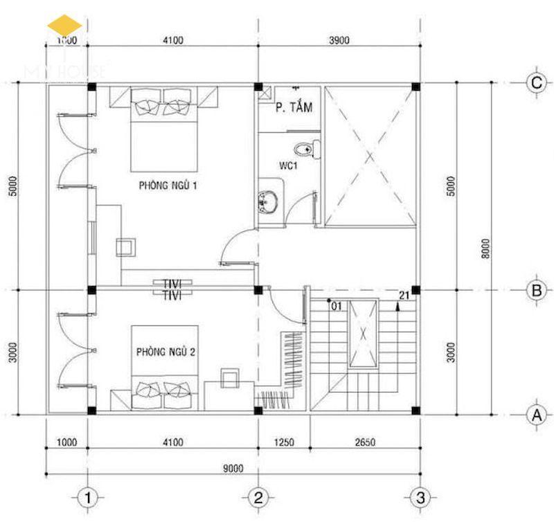 Mặt bằng tầng 2: 2 Phòng ngủ, WC, thông tầng
