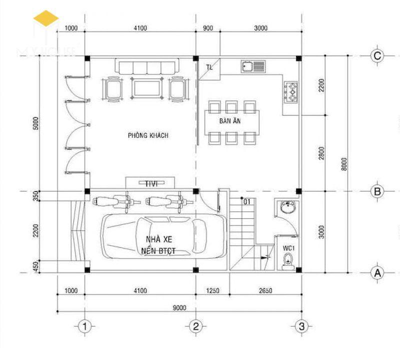 Mặt bằng tầng 1: Phòng khách, bếp + phòng ăn, gara để xe, WC