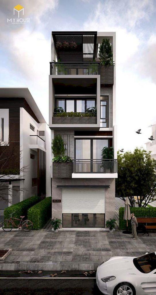 Cách tính diện tích xây dựng nhà 1 trệt 2 lầu xây bê tông