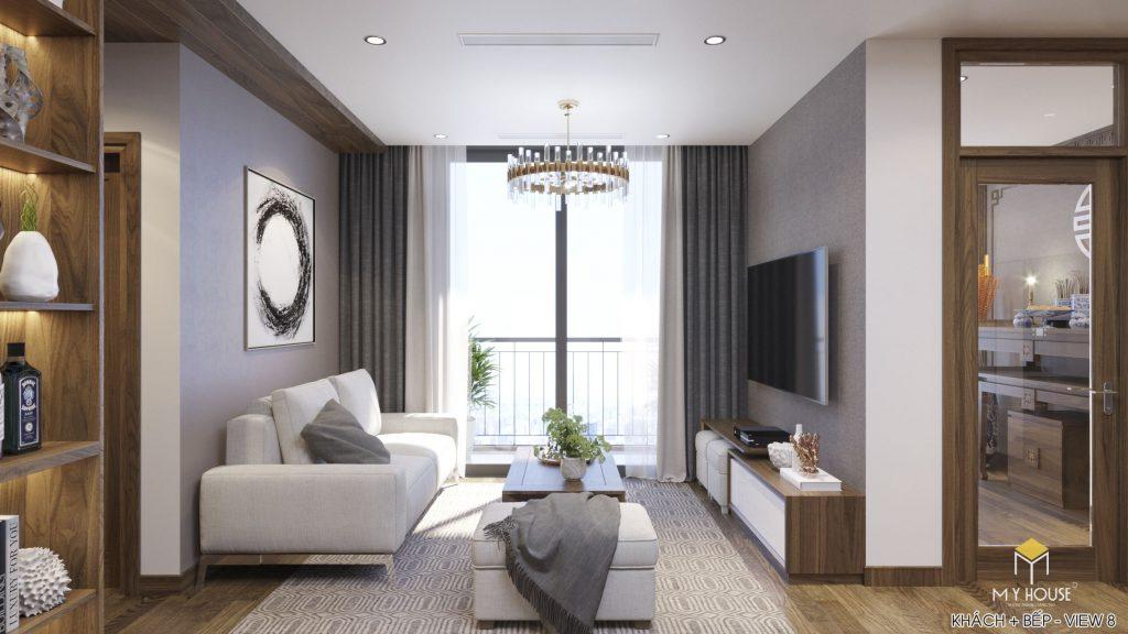 Nội thất phòng khách chung cư hiện đại - View 1