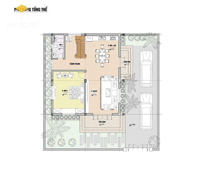 Bản vẽ tổng thể biệt thự 2 tầng tân cổ điển