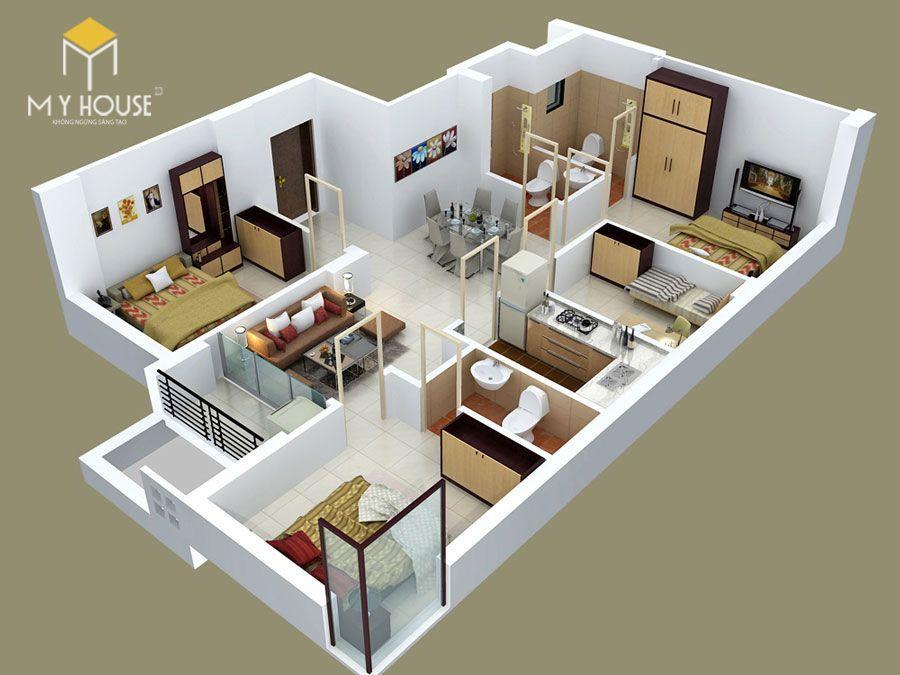 Mặt bằng công năng nhà 1 tầng 4 phòng ngủ - Mẫu 4