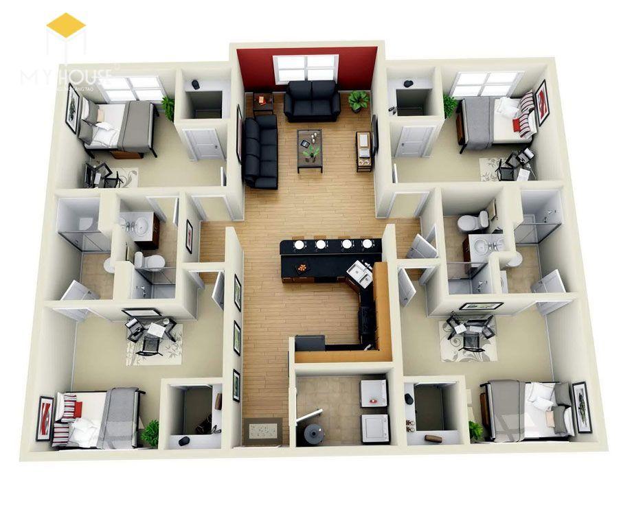 Mặt bằng công năng nhà 1 tầng 4 phòng ngủ - Mẫu 3