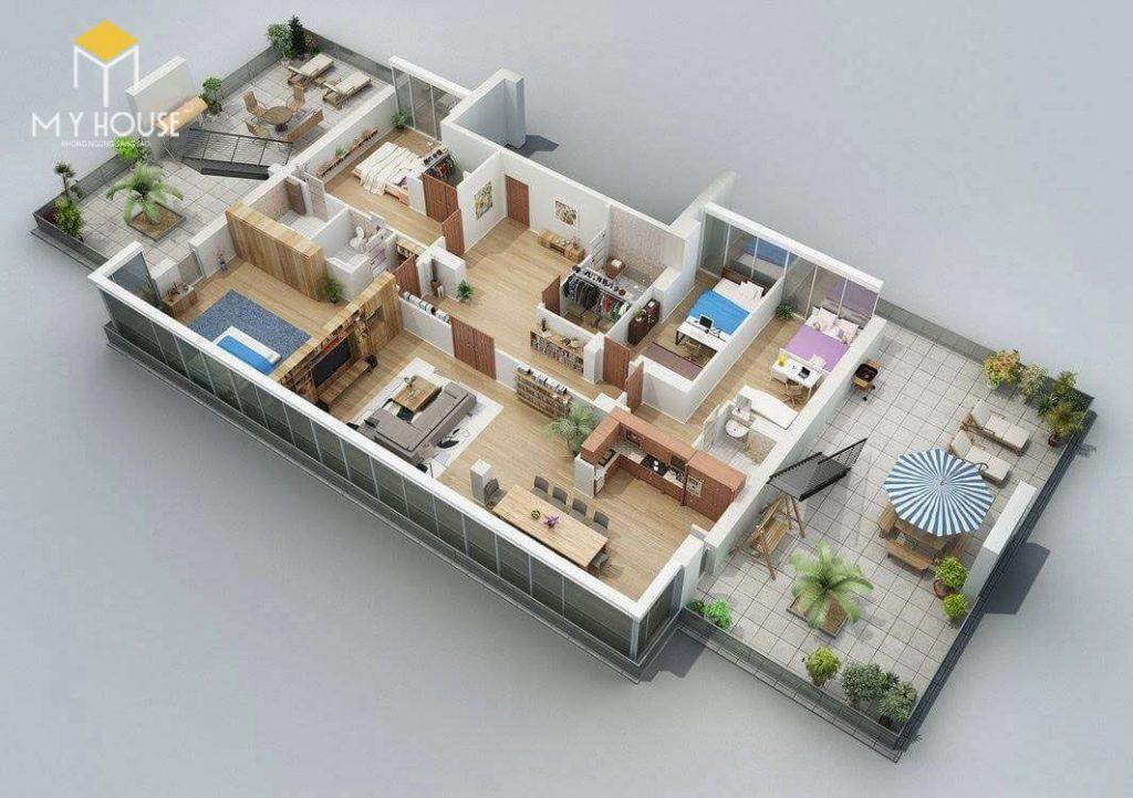 Mặt bằng công năng nhà 1 tầng 4 phòng ngủ - Mẫu 2