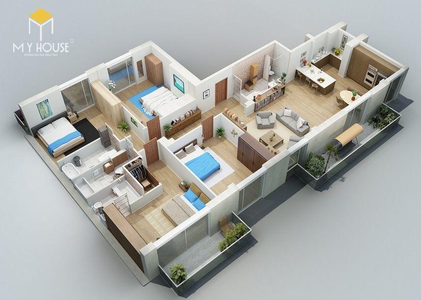 Mặt bằng công năng nhà 1 tầng 4 phòng ngủ - Mẫu 1