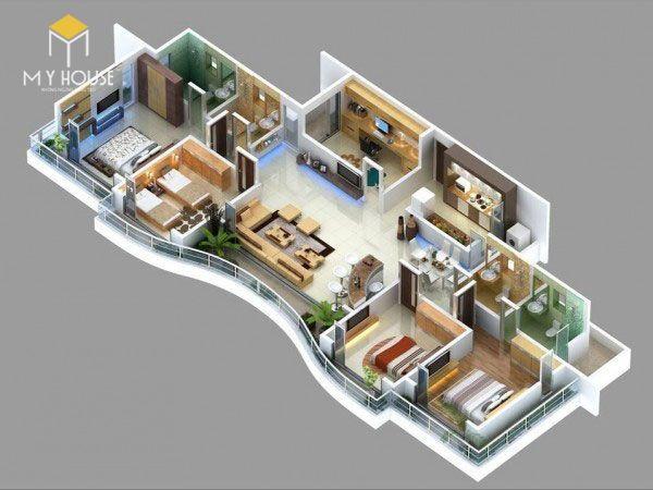 Mẫu nhà 1 tầng 4 phòng ngủ 5