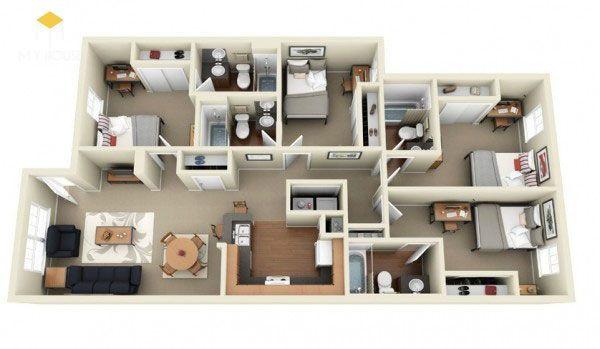 Mẫu nhà 1 tầng 4 phòng ngủ 4