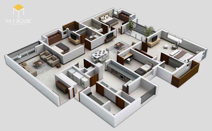 Mặt bằng công năng nhà 1 tầng 4 phòng ngủ - Mẫu 5