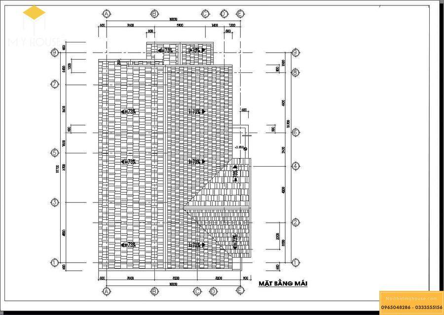 Bản vẽ mặt bằng mái nhà cấp 4 kiểu Pháp đơn giản