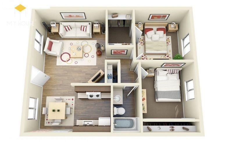 Mẫu 2 phòng ngủ trẻ trung hiện đại