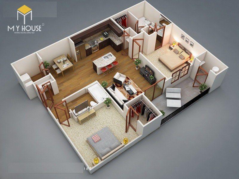 Hệ thống 2 phòng ngủ đơn giản