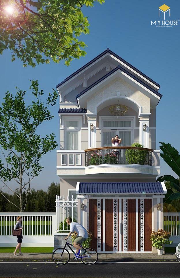 Mẫu nhà 2 tầng 5x20 mái thái